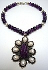 Fabulous Necklace in Amethyst, Silver and Pearl