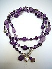 Very Long Necklace in Amethyst and Sterling Silver