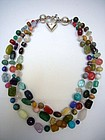 Gorgeous  Necklace with Mixed Semiprecious Stones