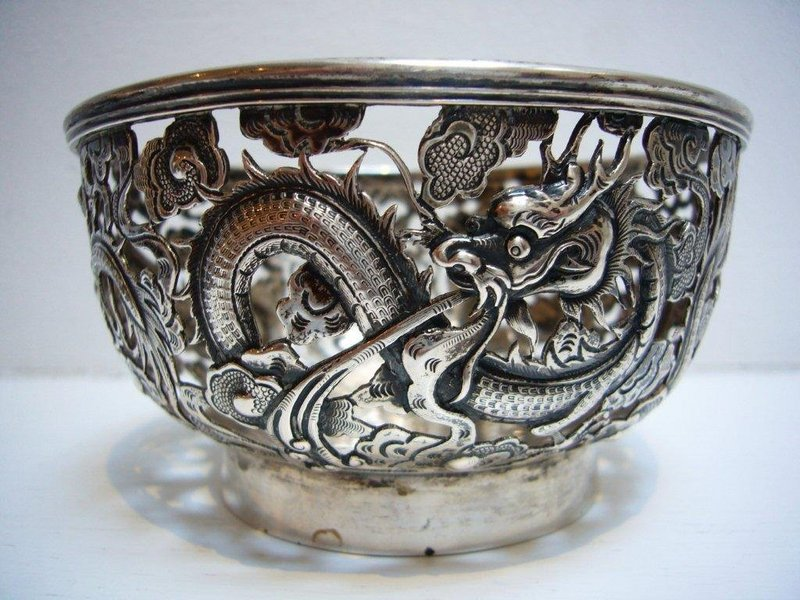 Chinese Export Silver Bowl By Luen Wo