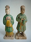 Pair of Chinese Ming Pottery Tomb Figures