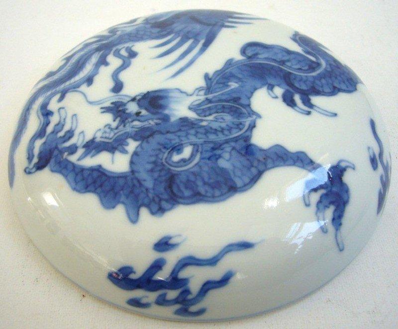 Kangxi Blue and White Porcelain Ink Box