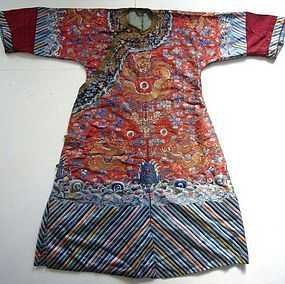Chinese Embroidered Robe with Gold Buttons Late Qing