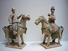 Pair of Ming Pottery Horses and Riders