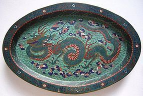 Large Chinese Late Qing Cloisonne Tray