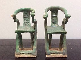 Pair of Ming Dynasty Pottery Horseshoeback Chairs