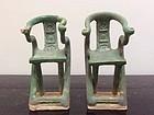 Pair of Ming Dynasty Pottery Horseshoeback Chairs