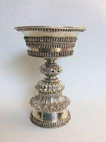 Tibetan Silver Butter Lamp 19th Century
