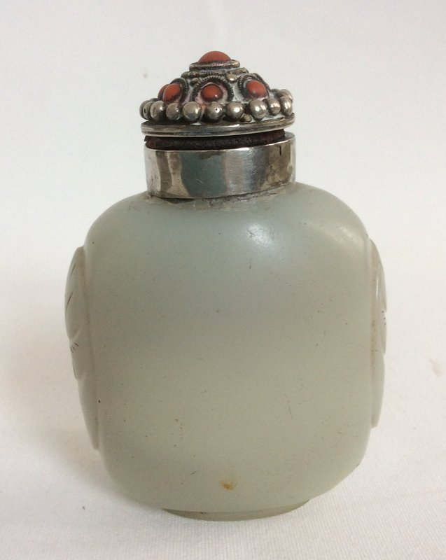 Chinese Glass Silver Coral Snuff Bottle 19th Century