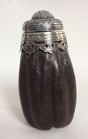 Chinese Wood and Silver Snuff Bottle 19th Century