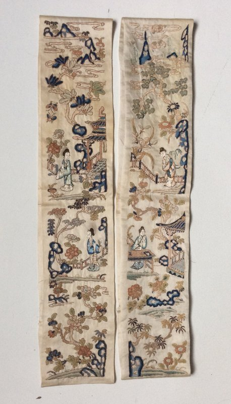 Late Qing Embroidered Silk Sleeve Ends