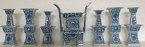 A Matched Qing Dynasty Porcelain Altar Set