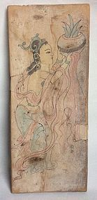 Tang Dynasty Panel Nr. 3 with Painting of a Deity