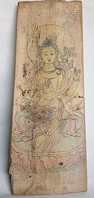Tang Dynasty Panel Nr. 4 with Painting of a Bodhisattva