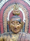 Painted Teakwood Buddha from Sri Lanka