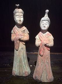 Pair Of Tang Dynasty Painted Pottery Court Ladies with TL-test