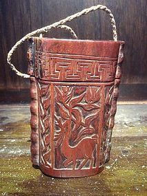 Chinese Boxwood Tobacco Box Qing Dynasty