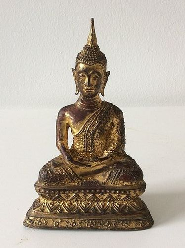 Thai Ratanakosin Gilded Bronze Buddha 19th Century