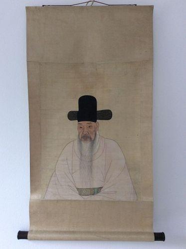 Korean Portrait on Silk 19th Century