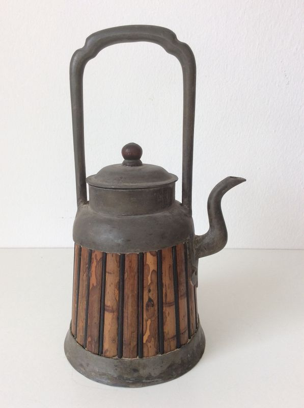 Chinese Pewter and Bamboo Wine Pot 19th Century