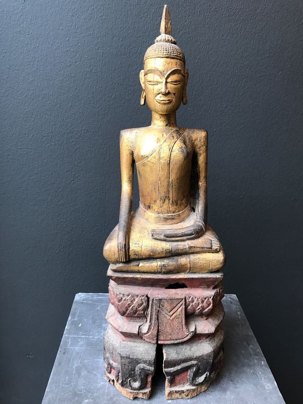 Thai Isan Gilt Wood Buddha 19th Century