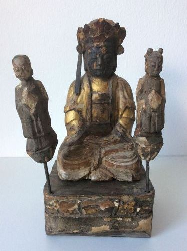 Chinese Gilt Wood Guanyin Dated 1805