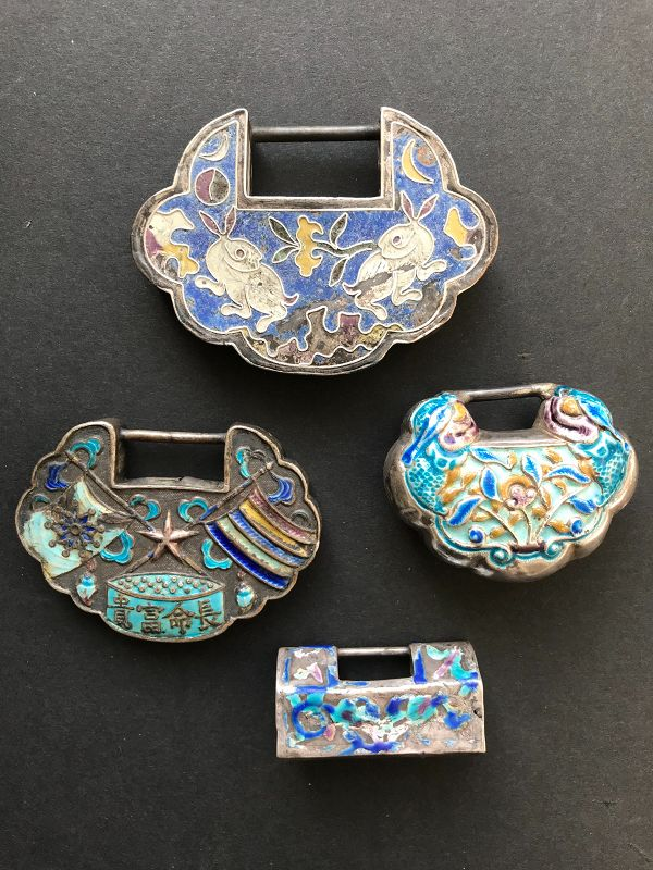 4 Chinese Enamelled Silver Lock Pendants Late Qing/Republic