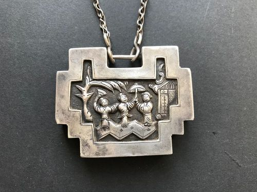 Chinese Silver Necklace with Lock Pendant 19th Century