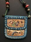 Chinese embroidered silk purse 19th/early 20th century