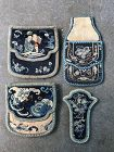 Three Chinese Embroidered Silk Purses and a Needle case Late Qing