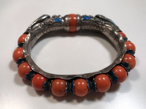 Chinese Silver and Coral Bracelet Late Qing