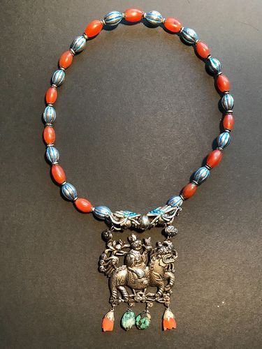 Chinese Silver and Carnelian Necklace Late Qing