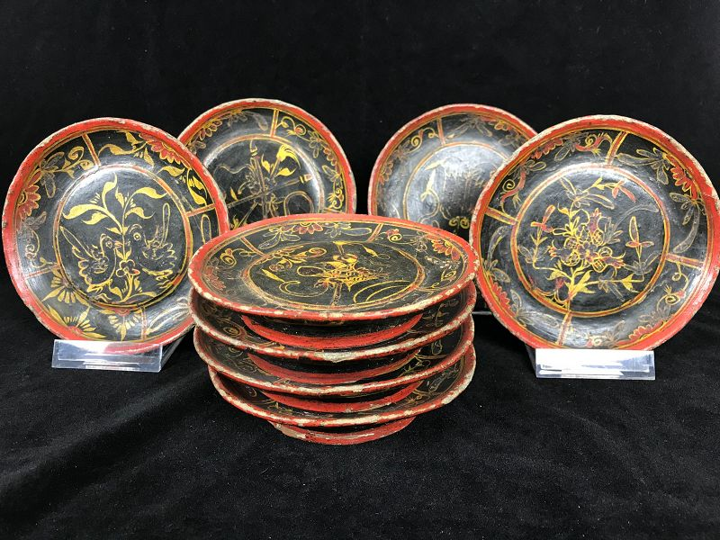 8 Chinese Wickerwork and Lacquer Dishes Dated 1843