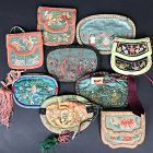 9 Chinese Silk Purses Late Qing/Republic