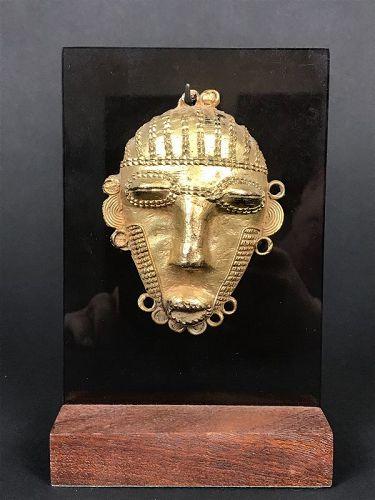 Ashanti Gilded Bronze Mask Ghana