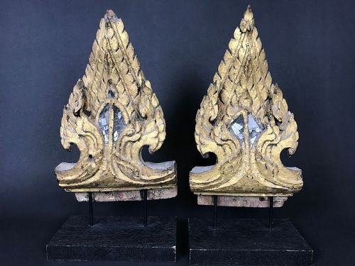 Pair of Thai Gilded Architectural Ornaments