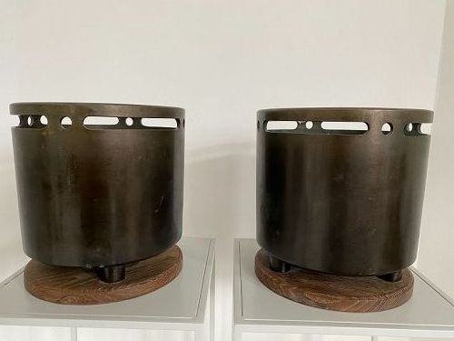 Pair of Japanese Bronze Hibachi