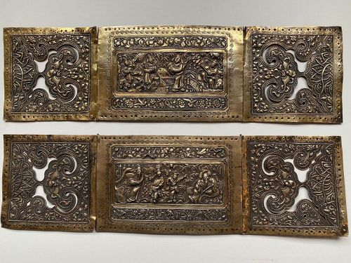 Straits or �Peranakan� gilt silver pillow ends