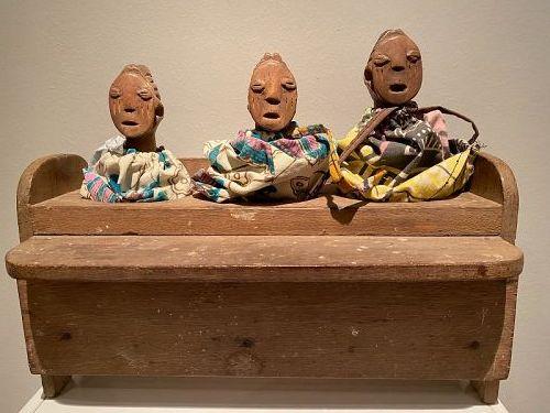 Togo - 3 Ewe Venavi Figures in a House - Ex Ursula Voorhuis