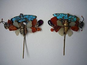Pair of Kingfisher Hairpins
