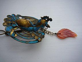 Chinese Kingfisher Hairpin in the Shape of a Bird