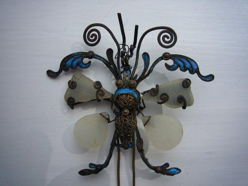 Chinese Kingfisher Hairpin in the Shape of a Butterfly