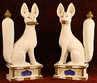 Luminescent White Clay Sculpture of Inari Foxes