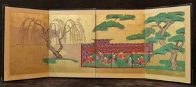 Early 19th C. Four Panel Screen Painting of Court Scene