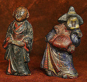 Kyogen Theater Couple, Okame and Usobuki Ceramic Figure