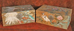 Unique Pair Japanese Painted Chinese Pig Skin Trunks