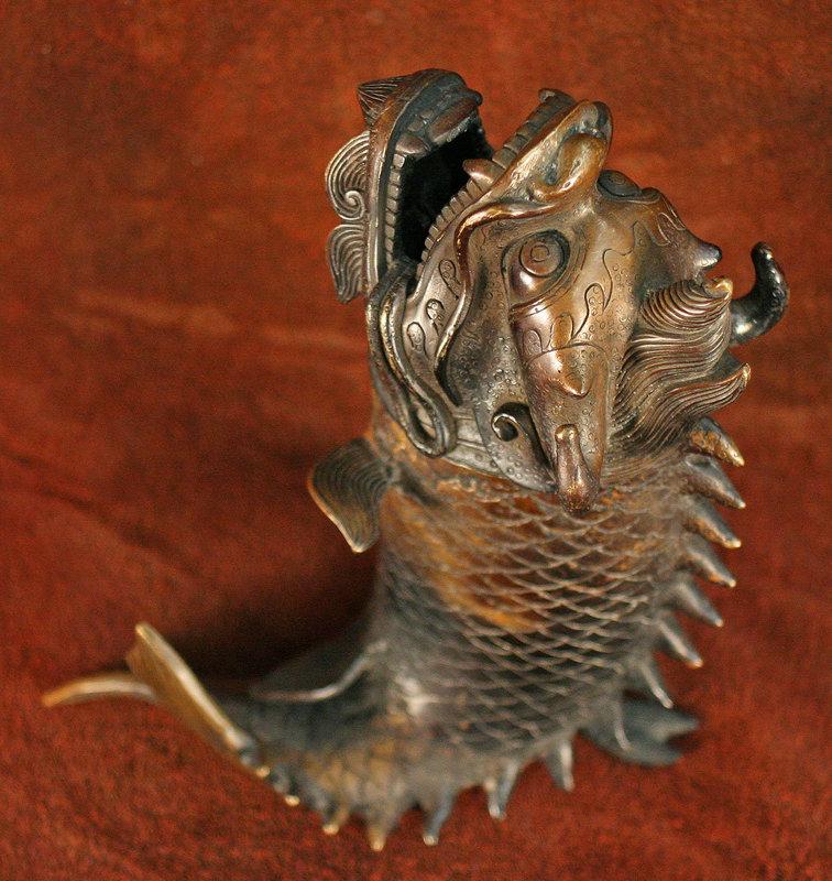 Japanese Dragon Fish Bronze Incense Burner