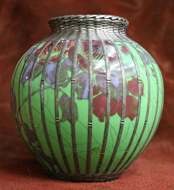 Silverised Metal Basket Weave Cloissone Vase