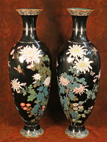 Massive Pair of 19th Century Cloisonne Vases