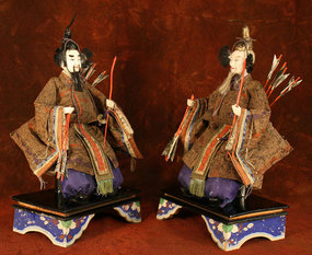 Rare Pair of Girl's Day Palace Guardian Dolls